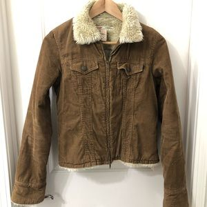 Abercrombie & Fitch Brown Corduroy Sherpa Jacket